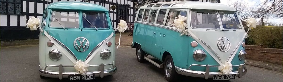 Two split screen vintage VW Campervans hired for Wedding in North Wales