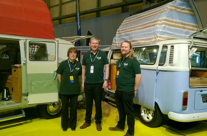 The team ready to greet our visitors at the NEC Camping, Caravanning and Mobile Home Show