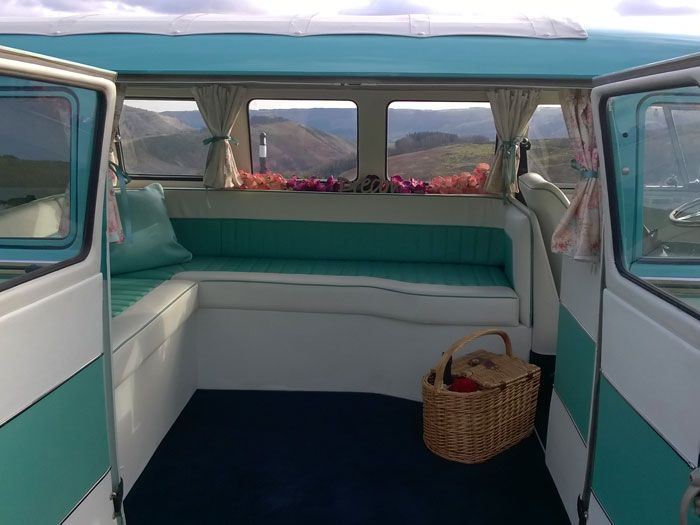 Rose, split screen VW Campervan interior