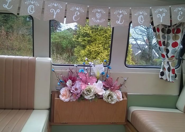 Interior of VW Campervan decorated for Wedding hire