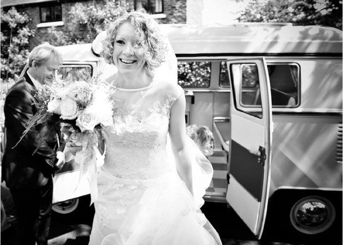 Bride arriving to the Church in VW Campervan