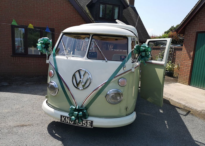 VW Campervan at wedding venue in North Wales