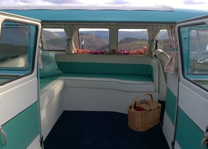 Interior of VW Campervan for Wedding Hire